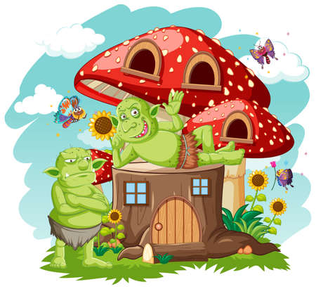 Gooblins or trolls with stump and mushroom house cartoon style on white background illustration