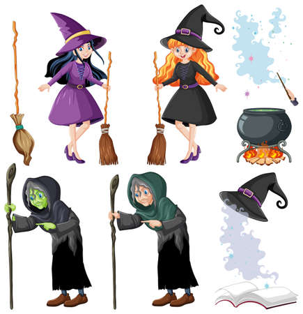 Set of wizard or witches and tools cartoon style isolated on white background illustration Ilustración de vector