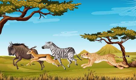 Wild animal running Savanna illustration