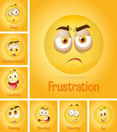 Set of different emotion yellow faces with tired text on yellow background illustration