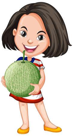 Asian girl holding melon fruit in standing position illustration