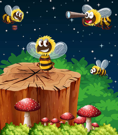 Many bees living in the garden scene at night illustration
