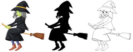 Witch in color and outline and silhouette cartoon character isolated on white background illustration