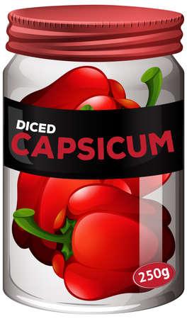 Capsicum preserve in glass jar illustration Vektorgrafik