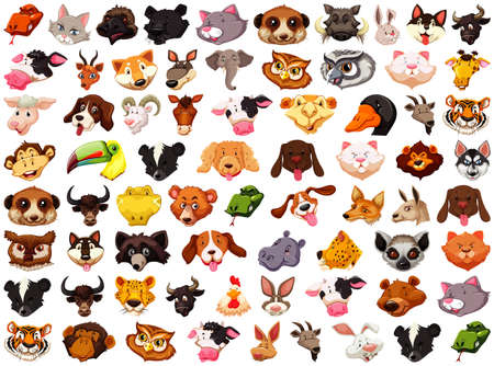Set of different cute cartoon animals head huge isolated on white background illustration Vetores
