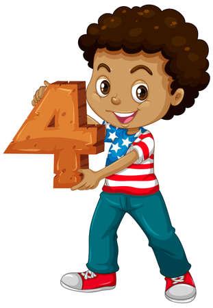 American boy holding math number four illustration