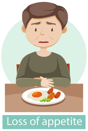 Cartoon character with loss of appetite symptoms illustration