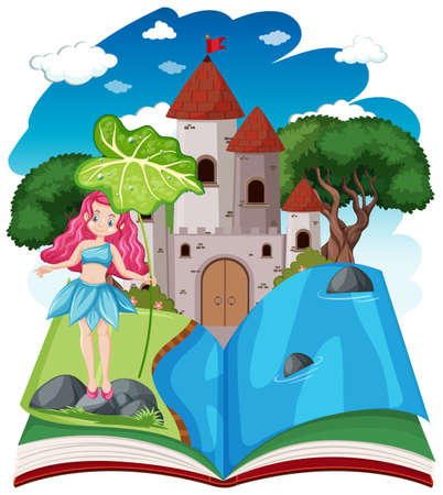 Fairy tales and castle tower on pop up book cartoon style on white background illustration
