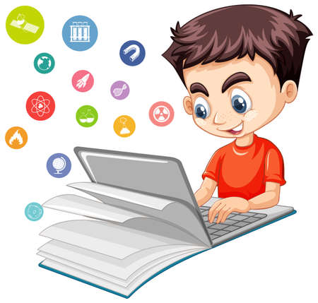 Boy searching on laptop with education icon isolated illustration