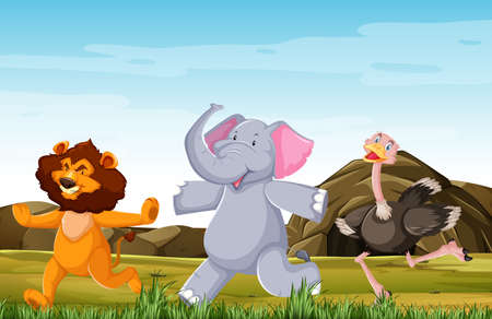 Wild animals group are posing standing smile cartoon style isolated on forest background illustration