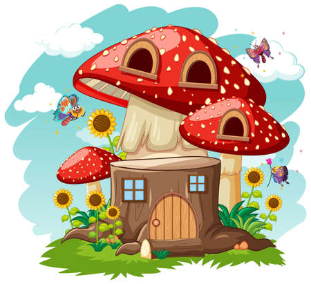 Stump mushroom house and in the garden cartoon style on sky background illustration