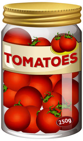 Tomatoes preserve in glass jar illustration