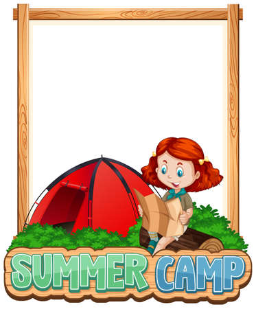 Border template design with girl at summer camp illustration