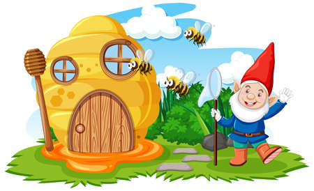 Gnomes and honeycomb house in the garden cartoon style on sky background illustration