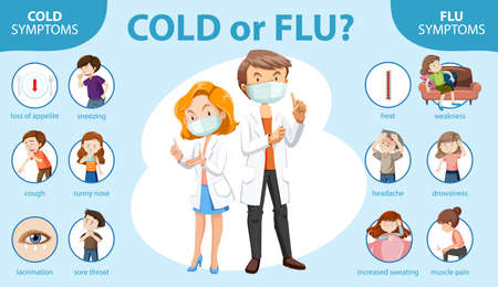 Medical infographic of cold and flu symptoms illustration Vectores