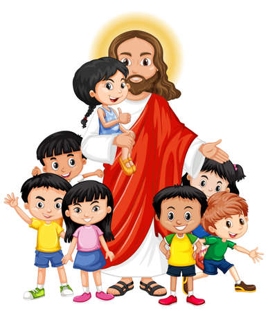 Jesus with a children group cartoon character illustration