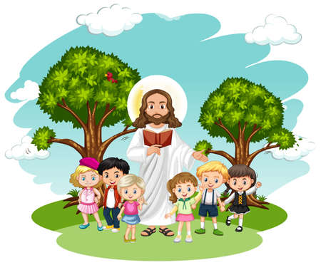 Jesus preaching to a children group cartoon character illustration Ilustración de vector