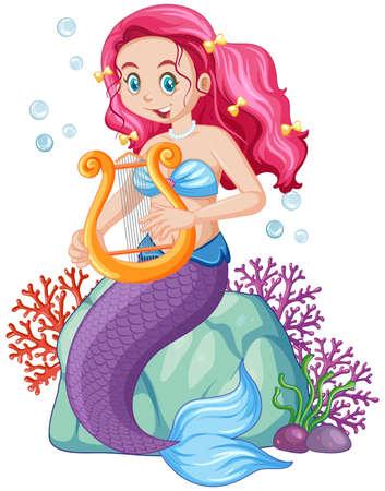 Cute mermaid cartoon character illustration Vecteurs