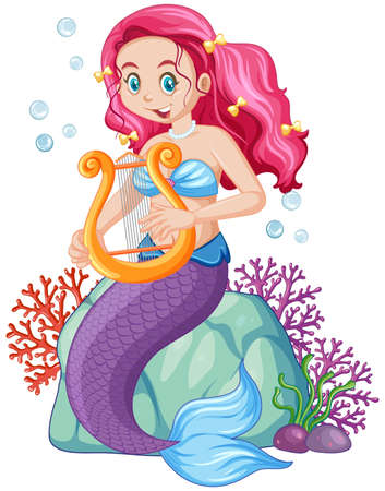Cute mermaid cartoon character illustration 矢量图片