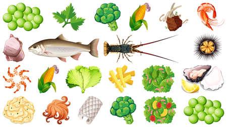 Set of fresh food ingredients illustration