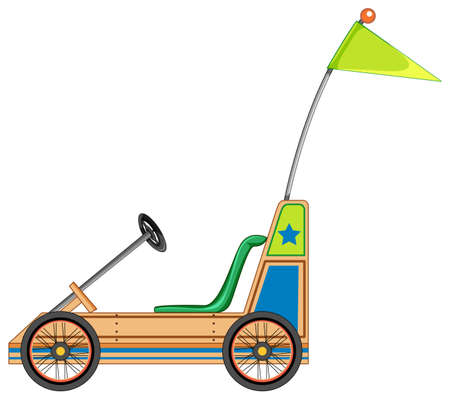 Gokart with green flag cartoon style isolated illustration