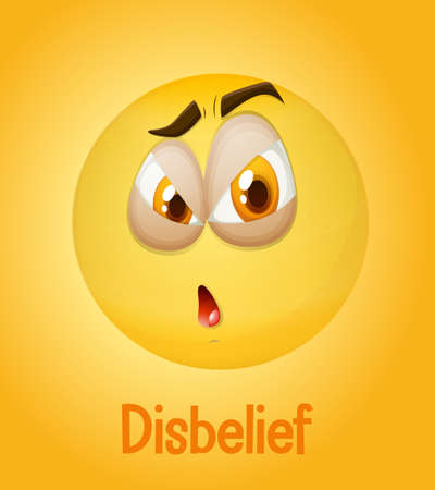 Disbelief emotional yellow face with tired text on yellow background illustration