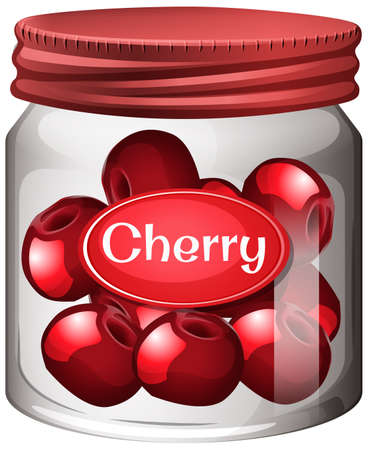 Cherry preserve in glass jar illustration