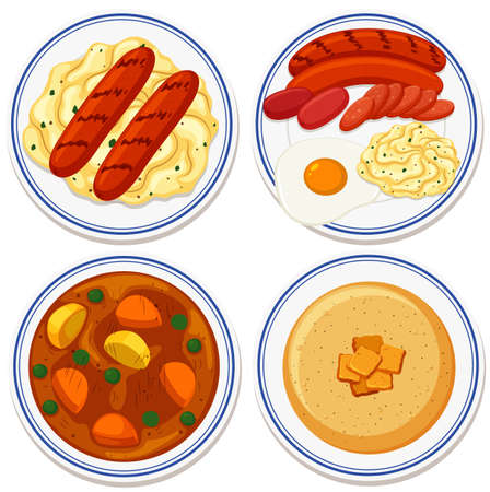 Aerial view of food on plate illustration Vetores