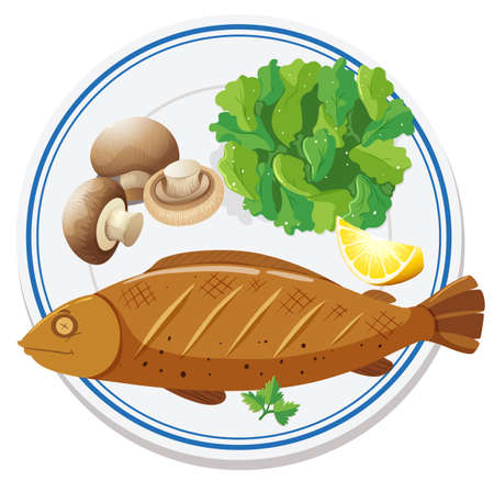 Aerial view of food on plate illustration