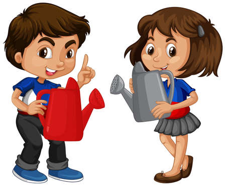 Different two kids holding watering can illustration