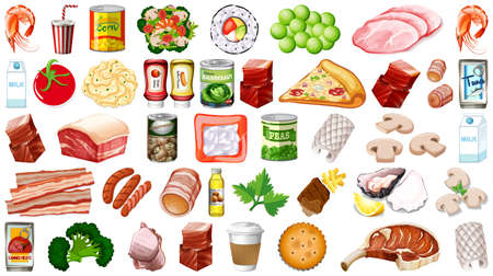 Set of food isolated illustration