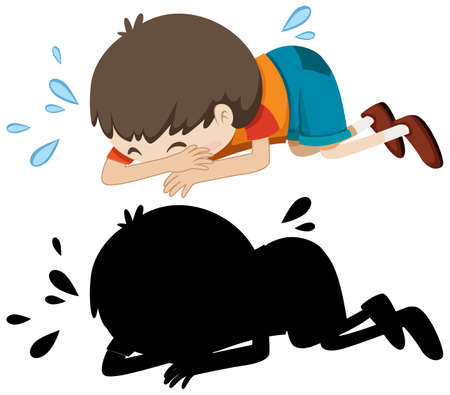 Boy crying on the floor with its silhouette illustration