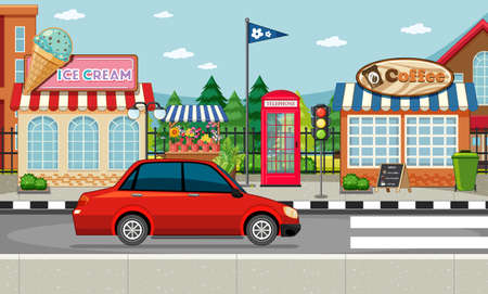 Street side scene with ice cream shop and coffee shop and red car on the street scene illustration
