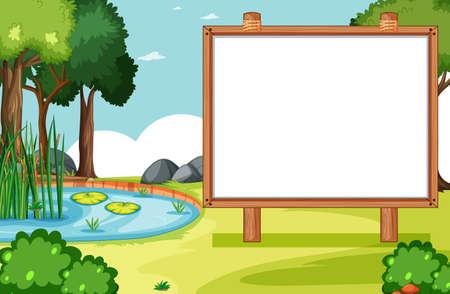 Blank wooden frame in nature park scene with swamp side illustration
