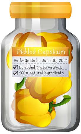 Pickled capsicum preserve in glass jar illustration