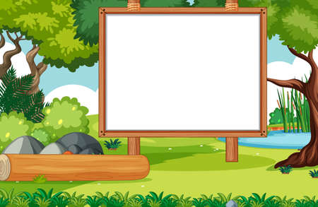 Empty banner board in nature park scenery illustration