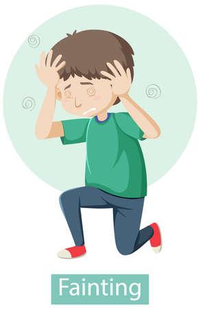 Cartoon character with fainting symptoms illustration Vector Illustration