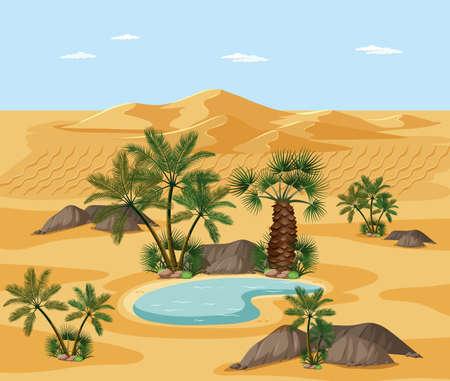 Desert landscape with nature tree elements scene illustration