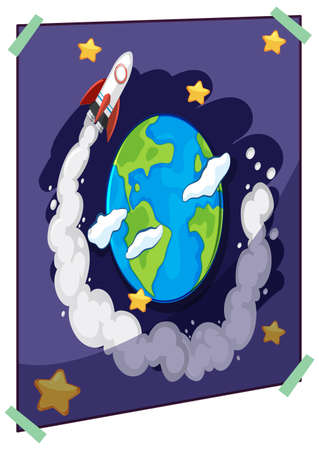 The earth and spaceship in space on poster isolated on white background illustration Illustration