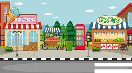 Street side scene with ice cream shop and fruit shop illustration