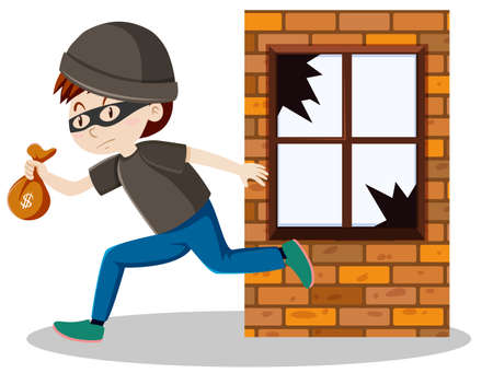 Robber or thief broke the window glass and holding small money bag cartoon isolated illustration