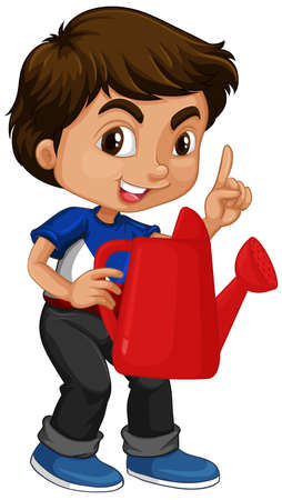 Asian boy holding red watering can illustration Ilustracja