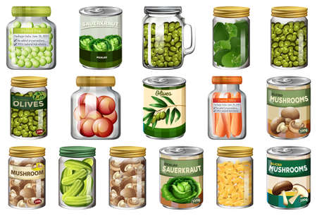 Set of different canned food and food in jars isolated illustration Ilustracja