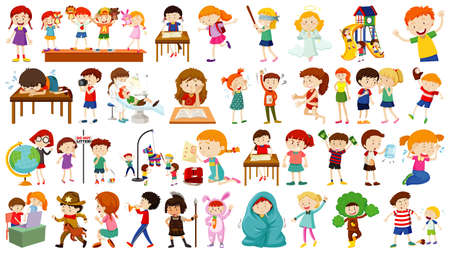 Set of cute kids cartoon character illustration
