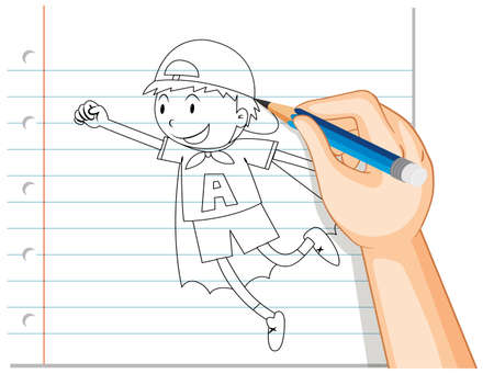 Hand writing of boy acting like hero outline illustration Ilustracja
