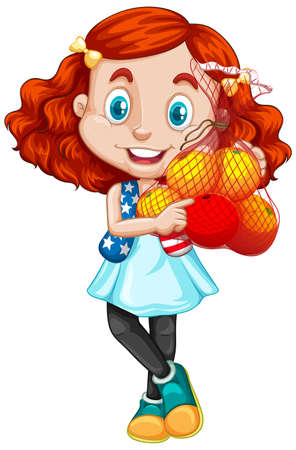Cute girl with red hair holding fruits in standing position illustration