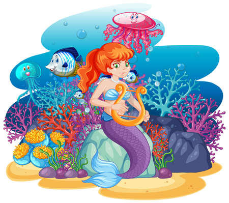 Cute mermaid with animal sea theme scene cartoon style isolated illustration