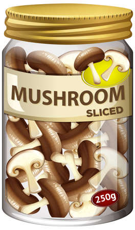 Mushroom preserve in glass jar illustration Ilustracja