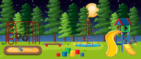 Kids playground in the park with big moon in the sky at night cartoon style illustration