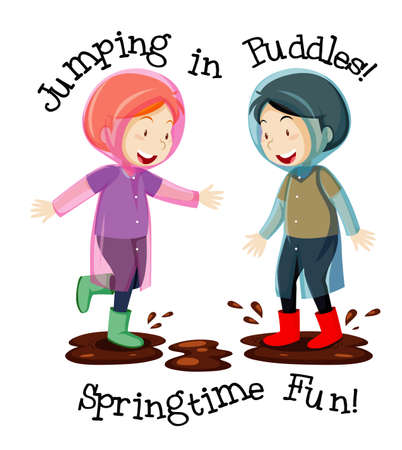 Two kids with jumping in puddles and springtime fun texts cartoon style isolated on white background illustration